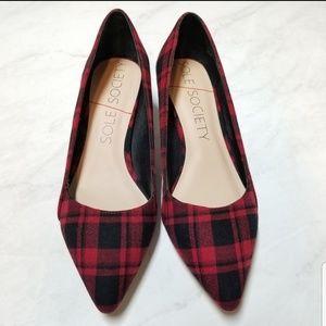 🆕 SOLE SOCIETY Desi red tartan kitten heels